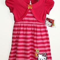 Sanrio Hello Kitty Striped Ribbon T Shirt Top Butterfly Dress Girls Sz 5t 5 New Photo