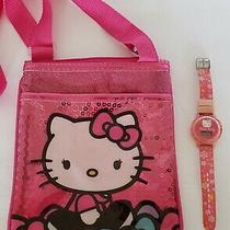 Sanrio Hello Kitty Tote Bag and Watch Pink Kids Plastic Zipper Purse Photo