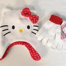 Sanrio Hello Kitty White Knit Laplander Winter Hat & Gloves Youth Girls 7-16 Nwt Photo
