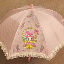 Sanrio My Melody Girls Umbrella Pink Checkerboard White Lace Ruffle 2001 Vintage Photo