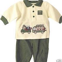 Santa's Express Baby Infant Christmas Pant Suit Shirt 3-6m Green Truck Van Santa Photo