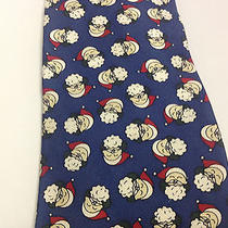 Santa Tie Christian Dior Blue Santa Claus With Hat Vintage Christmas Necktie Photo