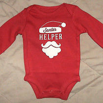 Santas Helper Red & White Bodysuit With Santa Beard & Hat-Size Newborn-Nwt Photo