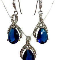 Sapphire Blue Swarovski Crystal Earrings & Dangle Necklace Photo