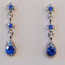 Sapphire Dangle Earrings Swarovski Crystal Party Earrings Perfect Gift E19a Photo