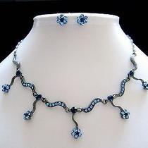 Sapphire Swarovski Crystal Necklace/earring Set N1166 Photo