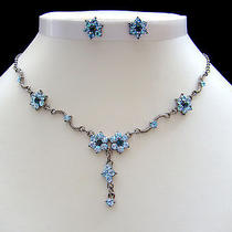 Sapphire Swarovski Necklace/earring Set N1033a Photo