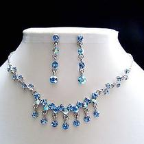 Sapphire Swarovski Necklace/earring Set N1127b Photo