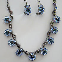 Sapphire Swarovski Necklace/earring Set N1173a Photo