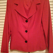 Sara Campbell 10 Petite 10p Red Silk Dress Jacket Formal Work Career Casual New Photo