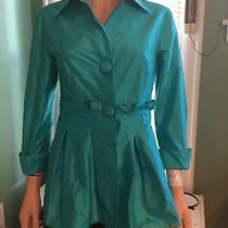 Sara Campbell  100% Silk Blouse Us Sz 4 Blue Pleated Button Up Shirt Collared Photo