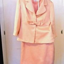 Sara Campbell 1960s Pink Silk & Wool Skirt Suit Woven Design Sz 8 Vintage Photo