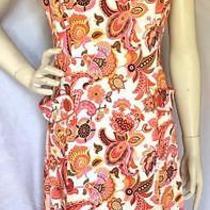 Sara Campbell 6 Stretch Cotton Preppy Shift Dress Retro 60's Multi Color Paisley Photo