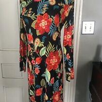 Sara Campbell Black Coral Multi Floral Knit Dress S Photo