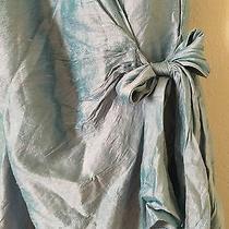 Sara Campbell Blue 100% Silk Feminine Wrap Dress Size 8  Photo