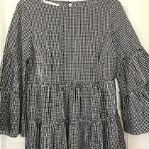 Sara Campbell Cotton Blend Size M Black/white Checked Blouse Bell Sleeves Photo