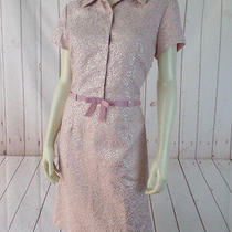 Sara Campbell Dress 6 Pink Gold Floral Embossed Sheath Lined Retro Style Chic Photo