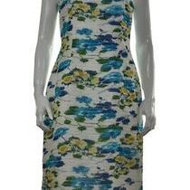 Sara Campbell Dress Size 10 White Blue Floral Sheath Knee Length Sleeveless Photo
