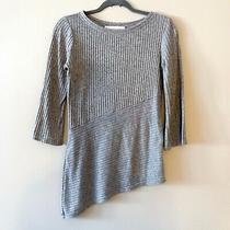Sara Campbell Gray Ribbed Asymmetrical Sweater Top Size Xs Msrp 178 Photo