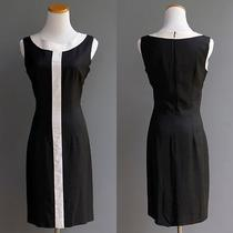 Sara Campbell Mod Stripe Go Go Girl Color Block Black White Linen Dress S 4 Photo