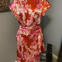 Sara Campbell Pink Red Short Sleeve Floral Silk Dress 10 Photo