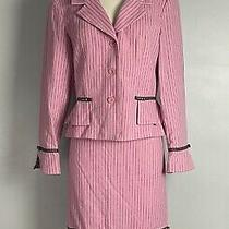 Sara Campbell Pinstripe Pink Brown Two Piece Wool Blend Skirt Suit Size 10 Photo