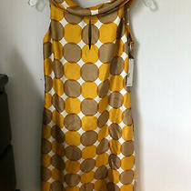 Sara Campbell Size 2 Silk Twill Dot Dress  Gold Sleeveless Mock Neck  Nwt Photo