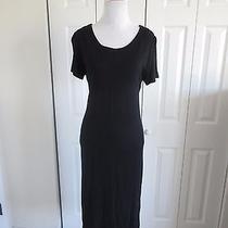 Sara Campbell Size S Vintage Long Black Minimalist Dress Short Sleeve Photo