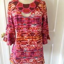 Sara Campbell Tunic With Wooden Painted Beads Sz S Multicolor Photo