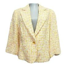 Sara Campbell Tweed Blazer Jacket Womens Size 14 Yellow Orange Nwt Photo
