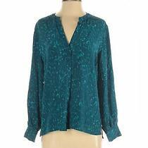 Sara Campbell Women Green Long Sleeve Silk Top S Photo