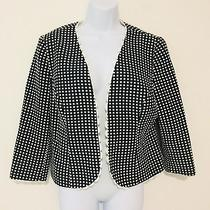 Sara  Campbell Womens Blazer Sz 12 Black White Polka Dot Career Jacket C46 Photo