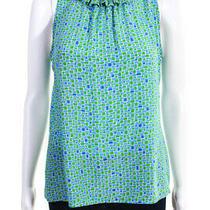 Sara Campbell Womens Silk Geometric Print Ruffle Blouse Shirt Top Blue Size 8 Photo