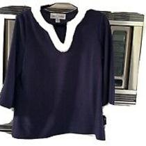 Sara Campbell Womens Sweater Navy White Large L Photo