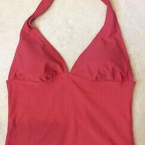 Sarah Jessica Parker Bitten Womens Halter Tankini Top Sz L Pink v Neck Lined Photo