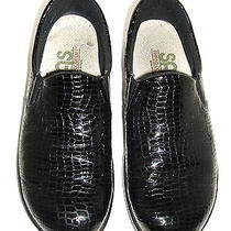 Sas Viva Loafers Flats Womens Black Croc Print Patent Leather 8 W Slip Ons Photo