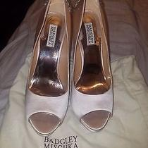 Satin Pink Badgley Mischka Open Toe Heels With Gorgeous Embellishment on Back  Photo