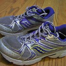 Saucony Cohesion 6 Silver/purple Leather Running Athletic Shoes Girls Sz 4 Youth Photo