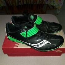 Saucony Men's M Spitfire Track Shoes Sz 11 Euc W/ Box 20104-4 Cleats Black/green Photo