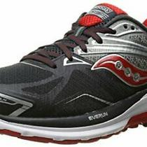 Saucony Men's Ride 9 Running Shoe Grey/charcoal/red Size 7.0 Shod Photo