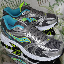 Saucony Oasis Gray Silver Teal Blue Walking Running Sneakers Shoes Us Womens 9.5 Photo