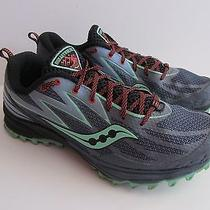 Saucony Peregrine 5 Womens Size 9 Trail Running Athletic Shoes Gray/mint Green Photo