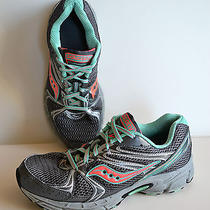 Saucony 'Progrid Cohesion 6' Gray Aqua & Hot Pink Running Shoes Size 9.5 W Photo