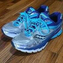 Saucony Ride 8 S10273-1 Silver Purple Blue Running Shoes Womens 10.5 Wide Euc Photo