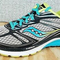 Saucony Women's Guide 9 Running Shoe Athletic Sneaker Grey/blue/citron Size 8.5 Photo