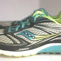 Saucony Women's Size 8 Guide 9 Flexfilm Everrun Running Shoes Blue Lime Black Photo
