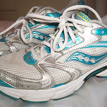 Saucony Womens 8.5 Eur 40 Grid Cohesion 5  Running Shoe Whie W/ Aqua Blue Clean Photo