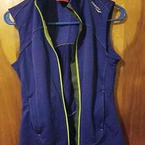 Saucony Womens S Sleeveless Jacket Vest Full Zip Running Pockets Blue Active  Photo