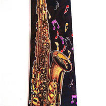 Saxophone Music Musical Notes Novelty Necktie Neck Tie Steven Harris Sleeved Photo