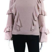 Saylor Womens Blush Avian Ruffle Tie Back Sweater Pink Size Extra Small 11333692 Photo